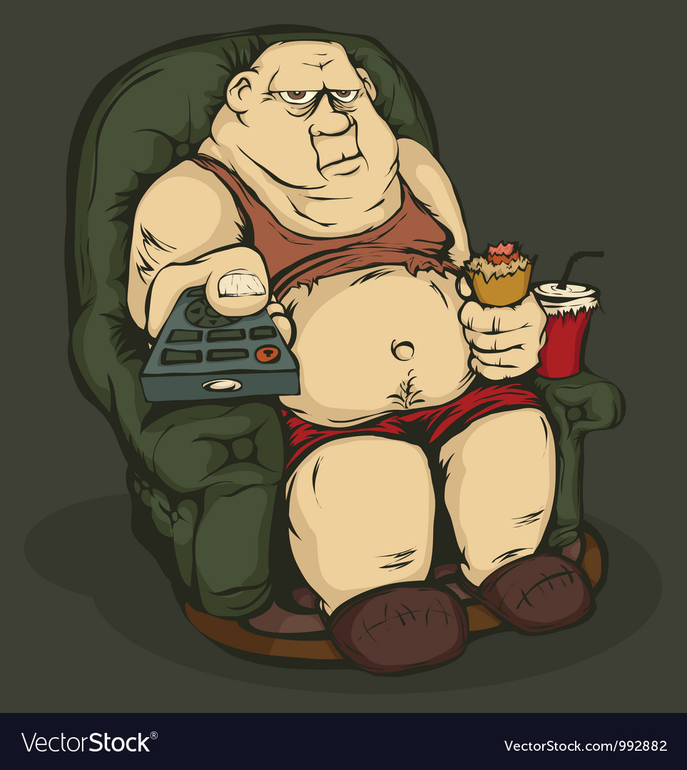 Fat man with a remote control color vector | Price: 3 Credit (USD $3)