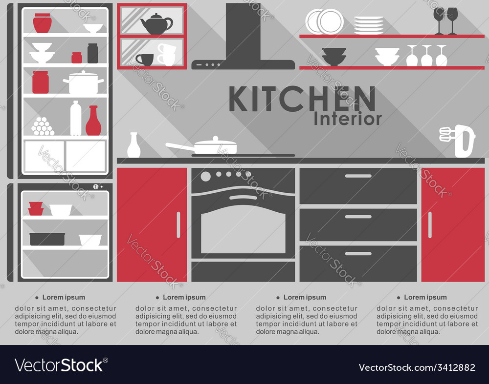 Kitchen interior flat design with long shadows vector | Price: 1 Credit (USD $1)