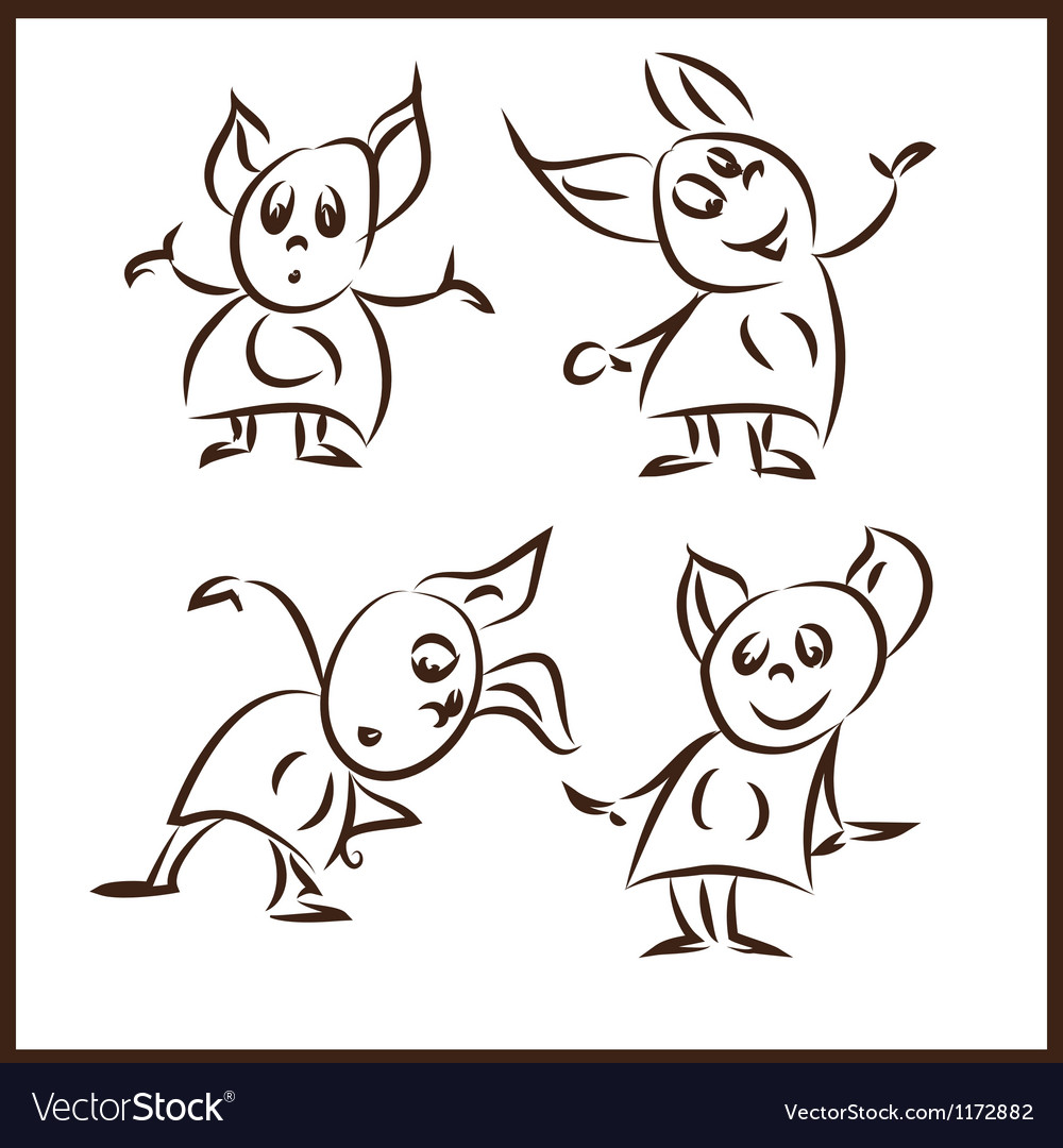 Rank funny little monsters in different poses vector | Price: 1 Credit (USD $1)