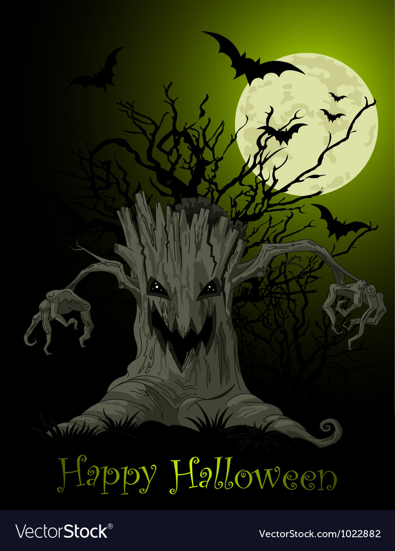 Scary tree background vector | Price: 3 Credit (USD $3)