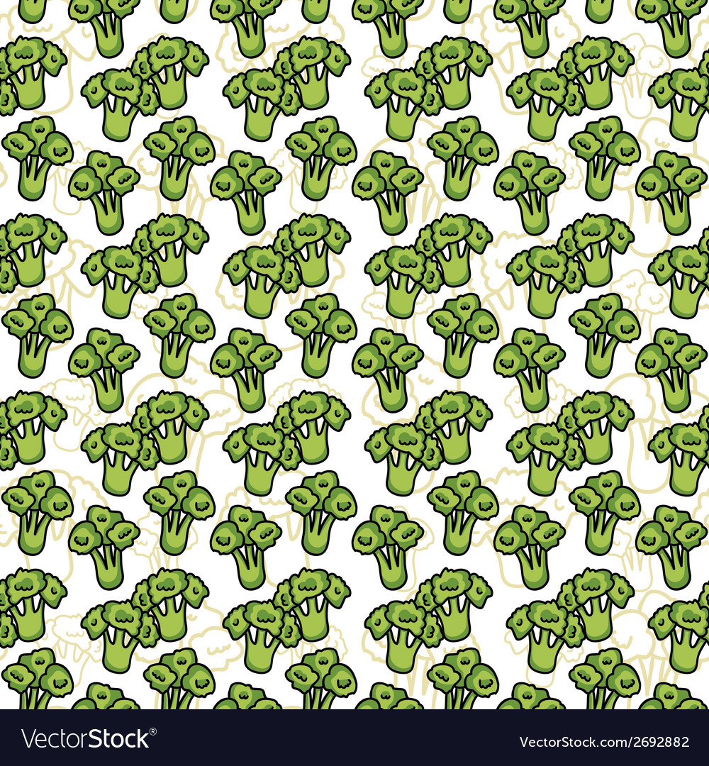 Seamless pattern of sketch broccoli  beautiful vector   Price: 1 Credit (USD $1)