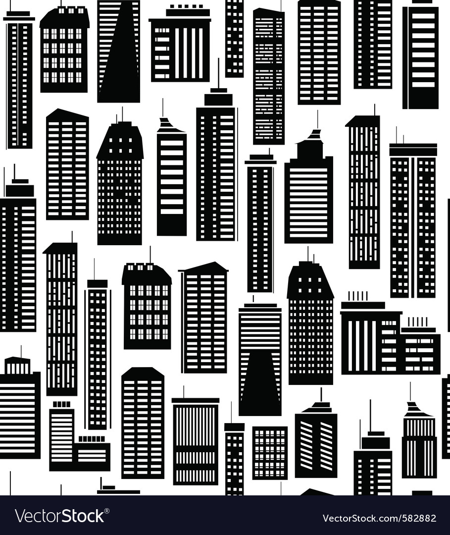Skyscraper seamless pattern vector | Price: 1 Credit (USD $1)