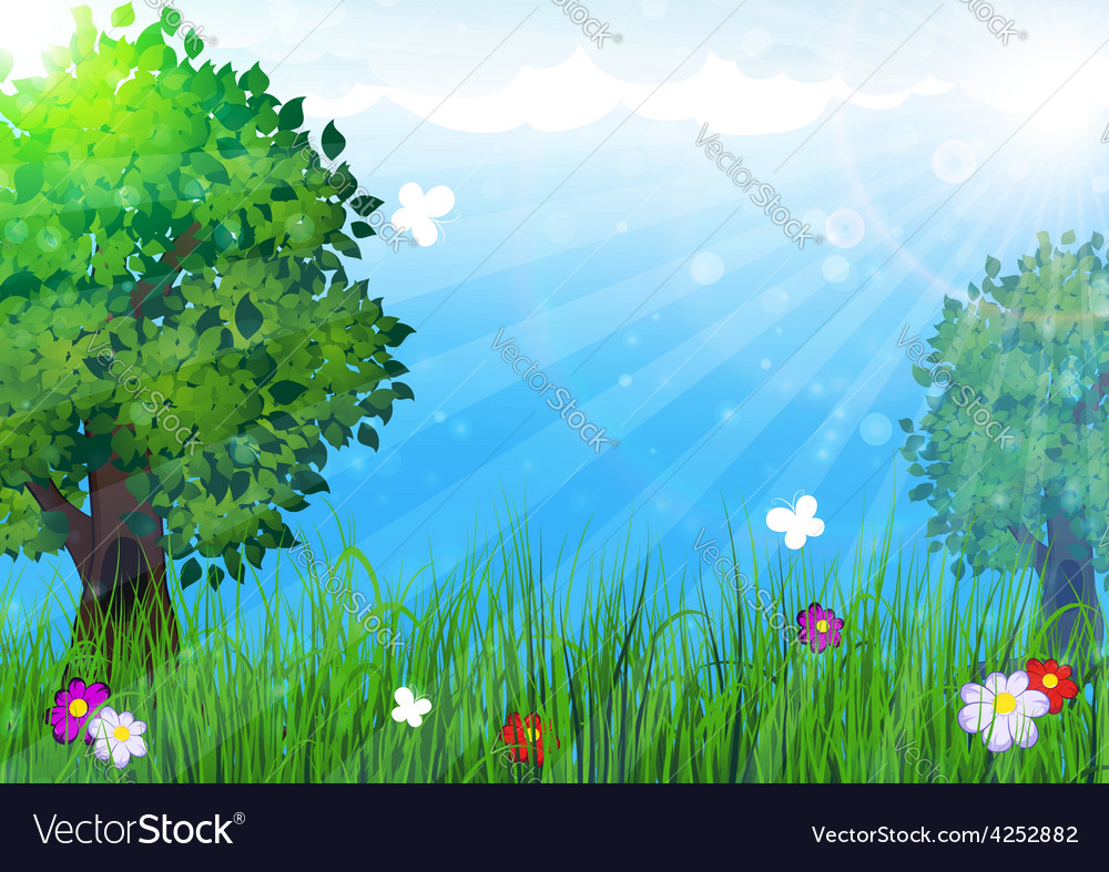Trees in the meadow vector | Price: 3 Credit (USD $3)