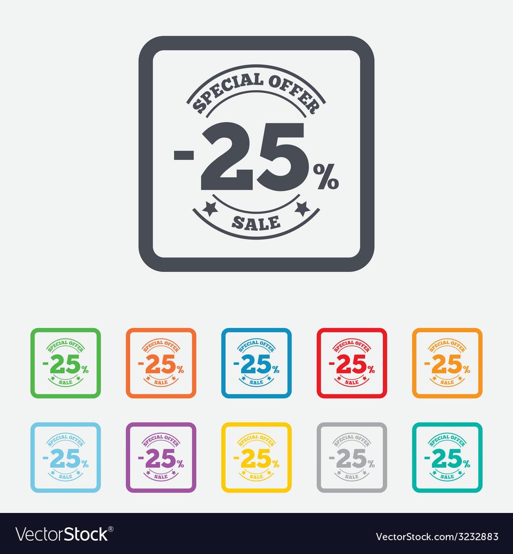 25 percent discount sign icon sale symbol vector | Price: 1 Credit (USD $1)