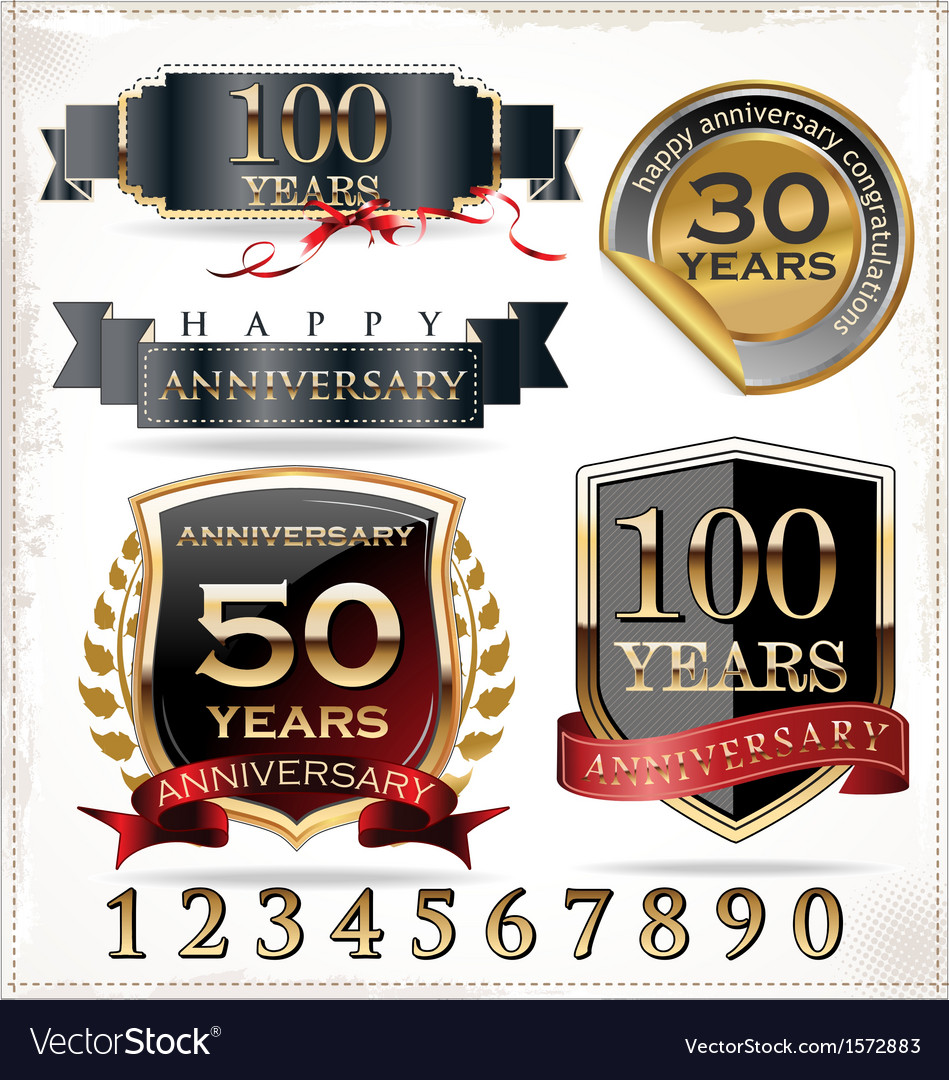 Anniversary labels vector | Price: 3 Credit (USD $3)