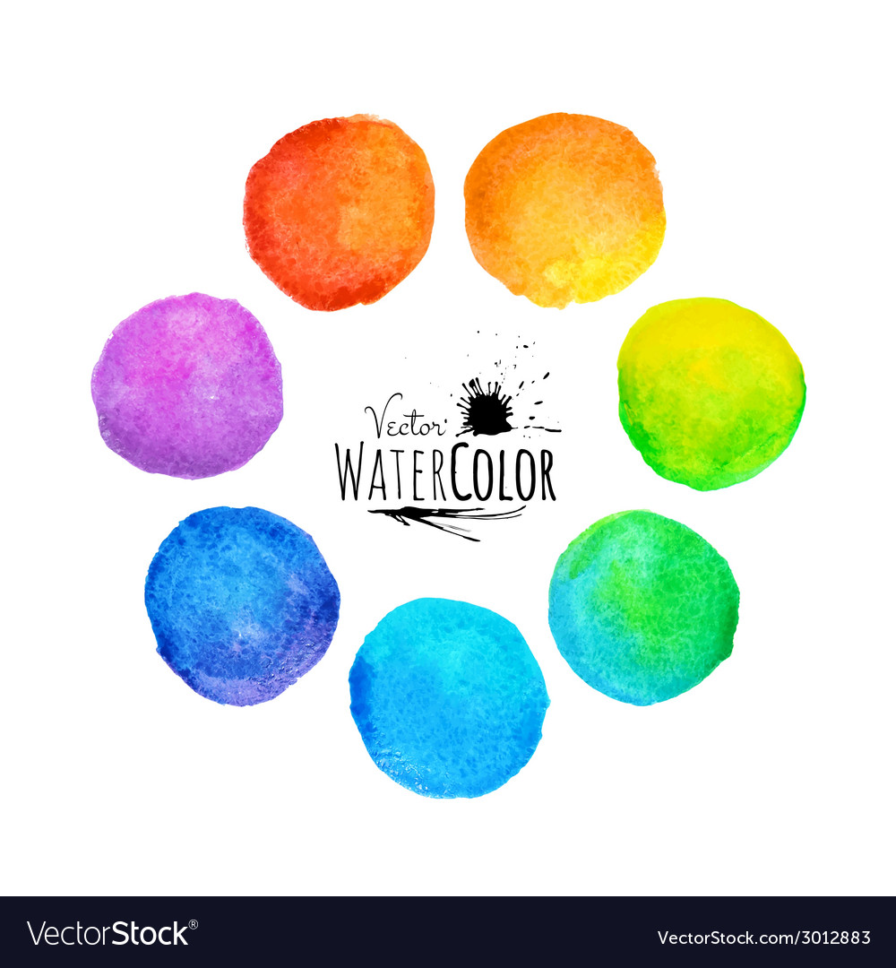 Colorful set isolated watercolor paint circles vector | Price: 1 Credit (USD $1)