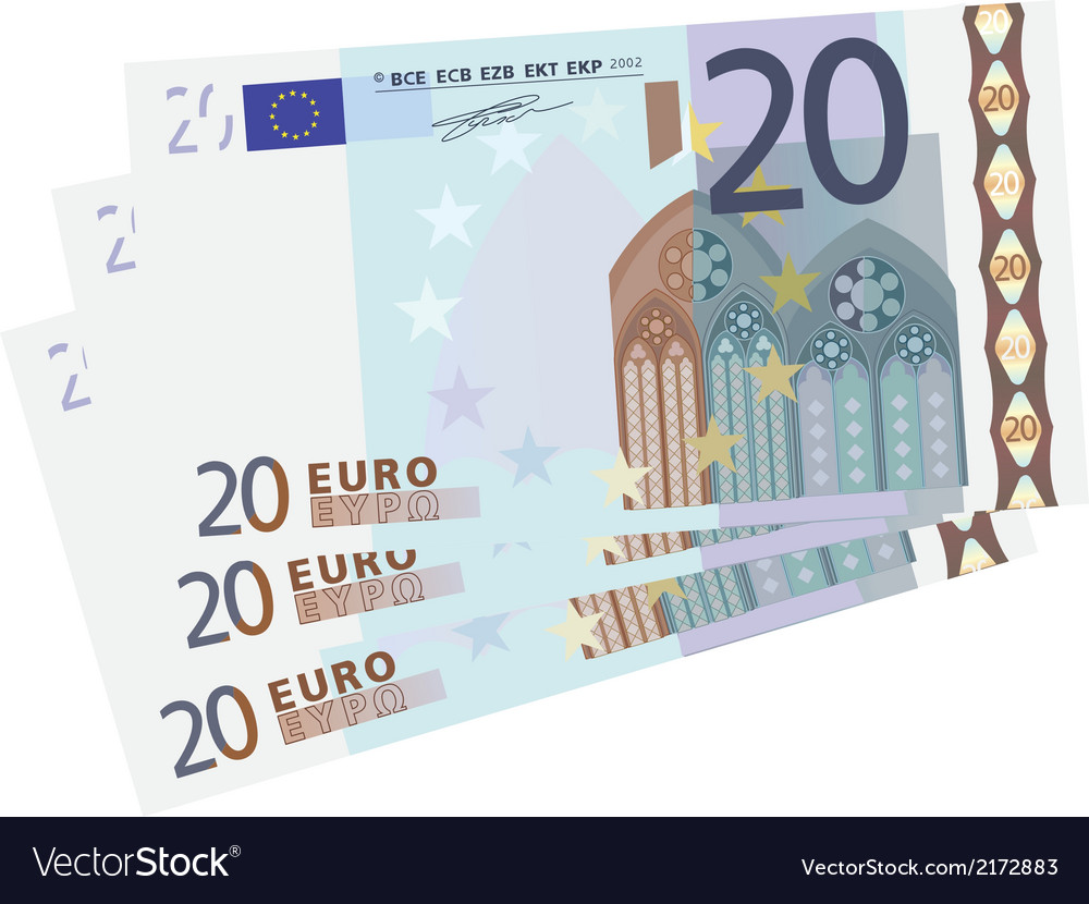 Drawing of a 3x 20 euro bills vector | Price: 1 Credit (USD $1)