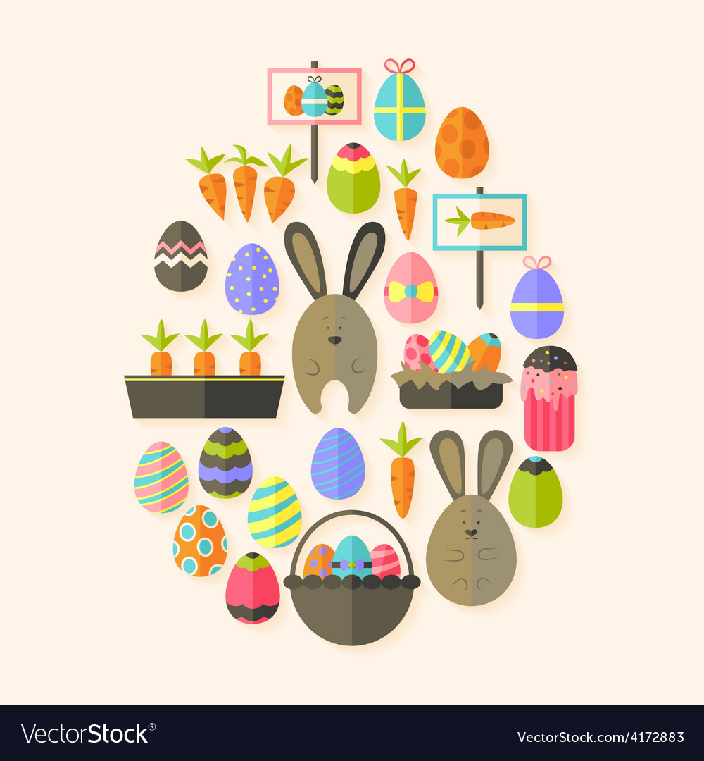 Easter holiday flat icons set egg shaped with vector | Price: 1 Credit (USD $1)