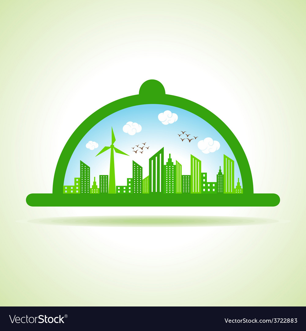 Ecology concept - eco cityscape with platter vector | Price: 1 Credit (USD $1)