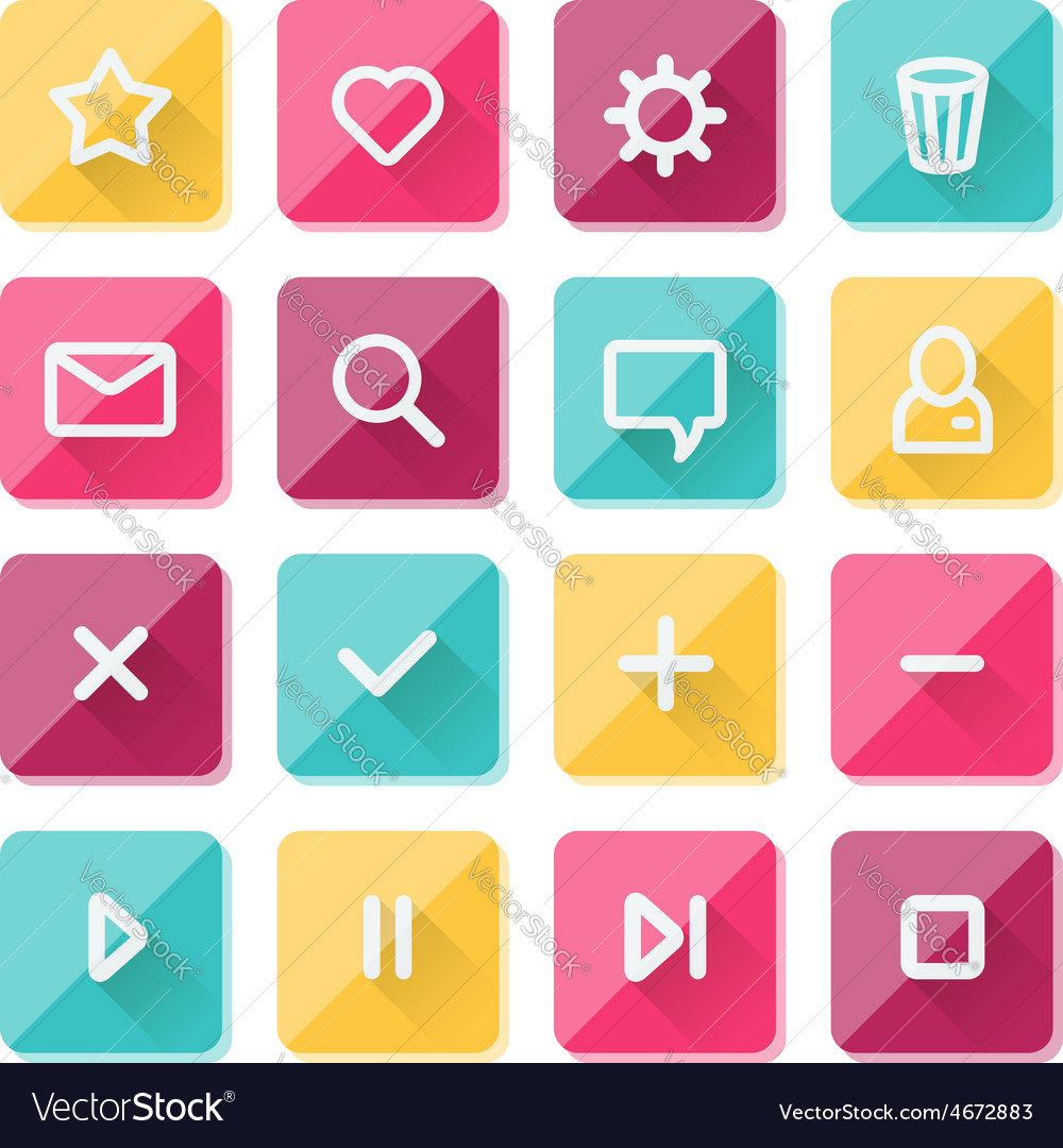 Flat ui design elements - set of basic web icons vector | Price: 1 Credit (USD $1)