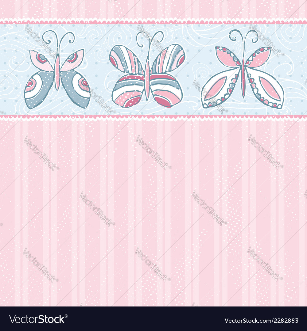 Hand draw butterflies on pink striped background vector | Price: 1 Credit (USD $1)