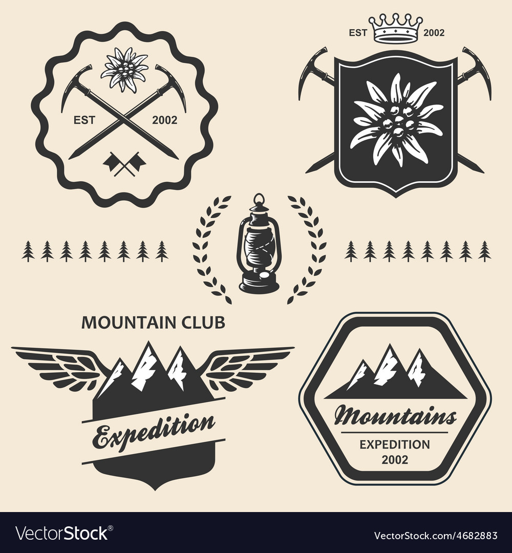 Mountain hiking outdoor symbol emblem label vector | Price: 1 Credit (USD $1)