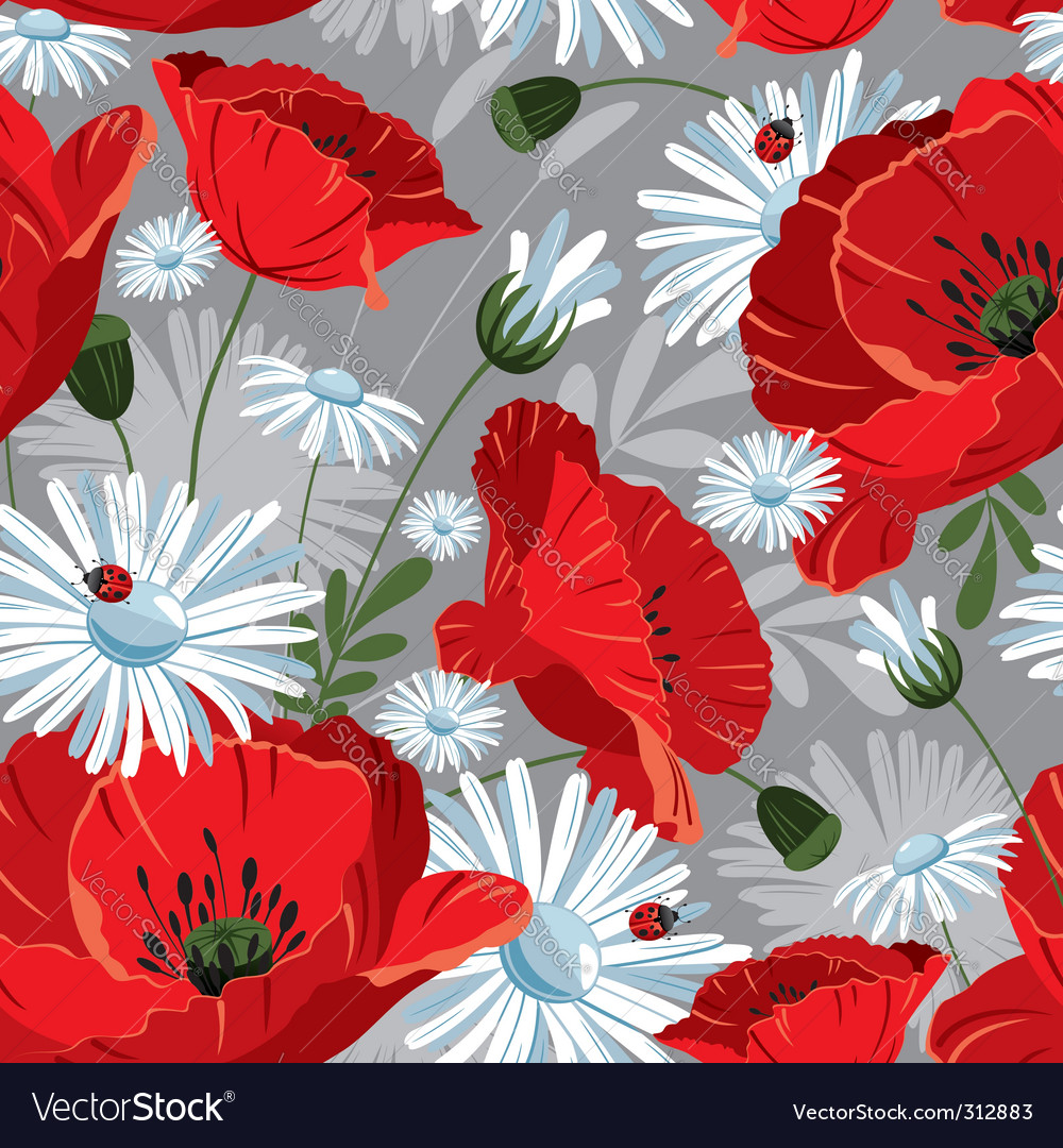 Seamless with with poppies vector | Price: 3 Credit (USD $3)