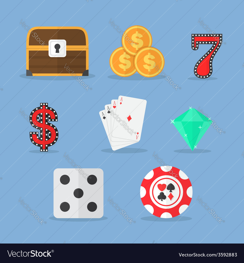 Set of gambling slot machine icons vector | Price: 1 Credit (USD $1)