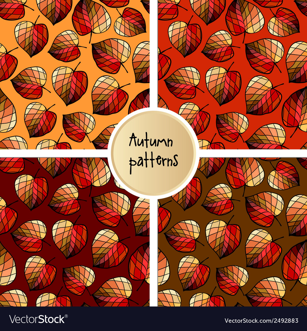 Set of seamless pattern with stylized leaves vector | Price: 1 Credit (USD $1)