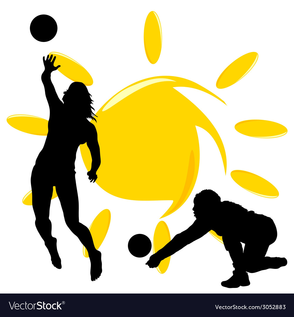Volleyball two girl silhouette vector | Price: 1 Credit (USD $1)