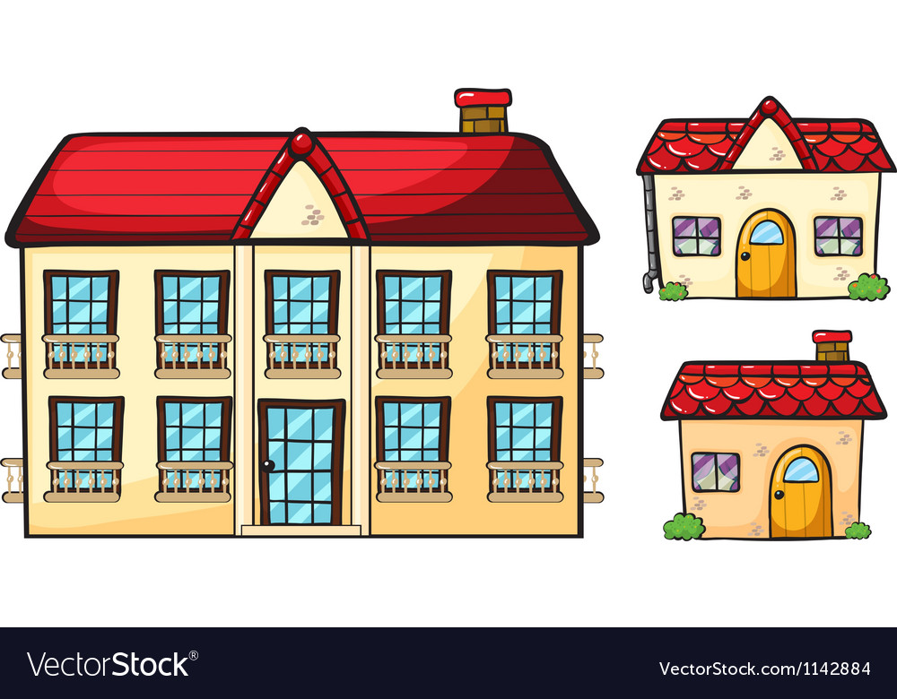 A big apartment and two small houses vector | Price: 1 Credit (USD $1)