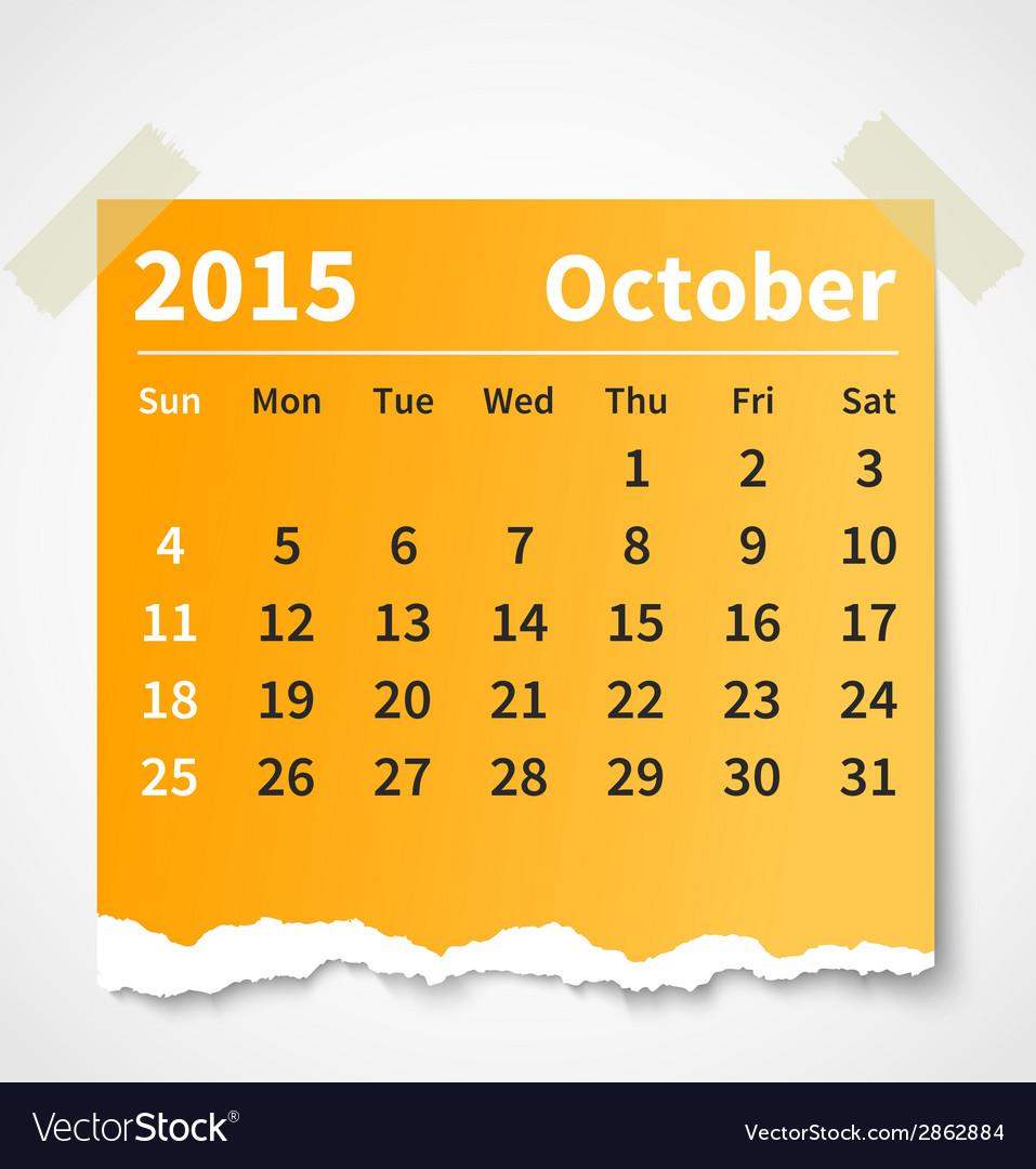Calendar october 2015 colorful torn paper vector | Price: 1 Credit (USD $1)