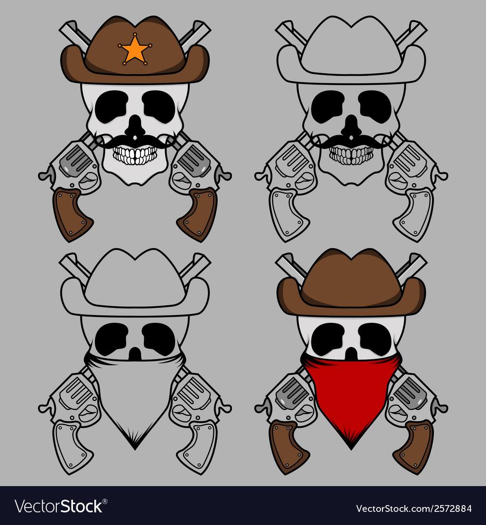 Cowboy skull mascot vector | Price: 1 Credit (USD $1)