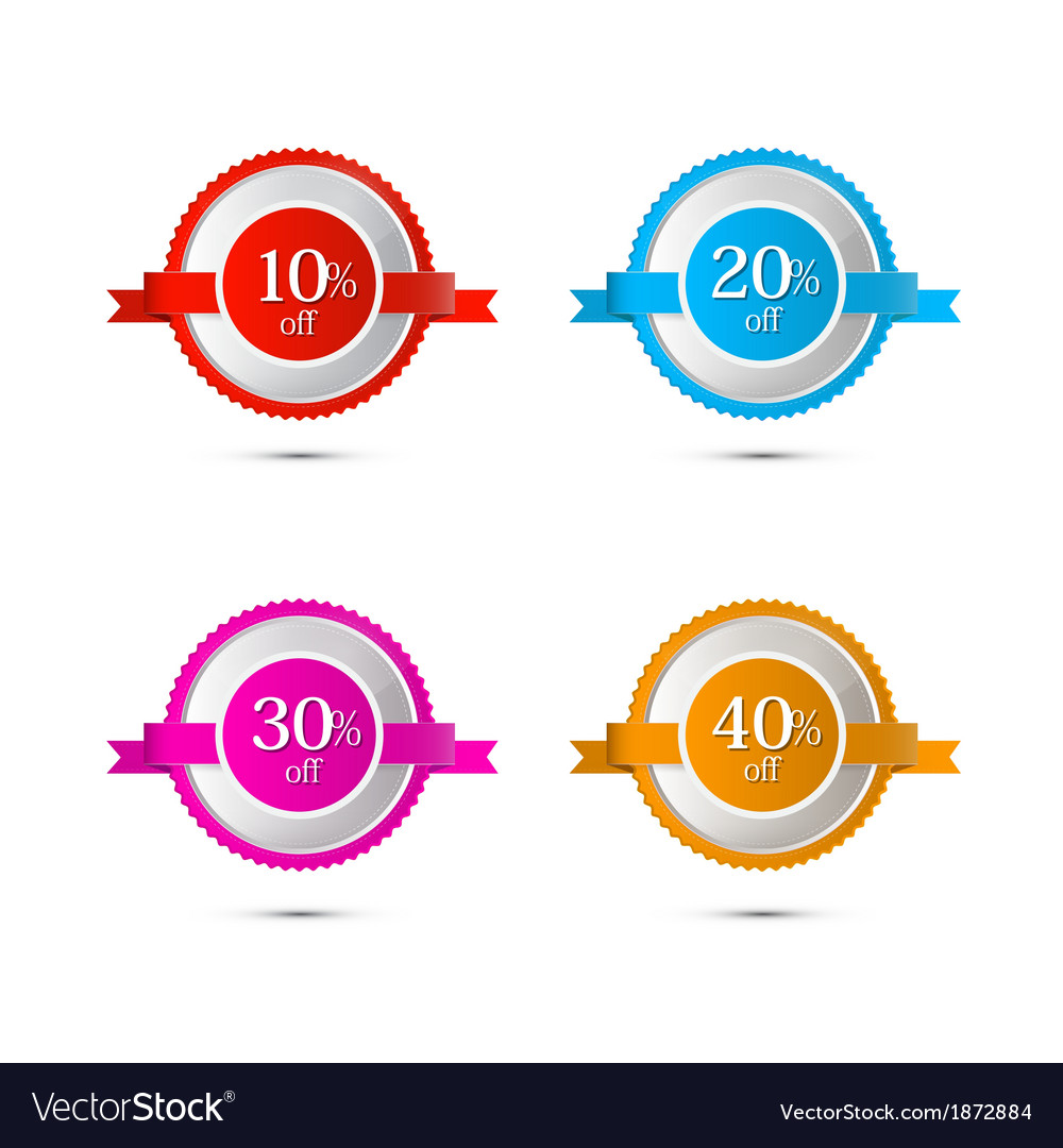 Discount stickers labels isolated on white vector | Price: 1 Credit (USD $1)