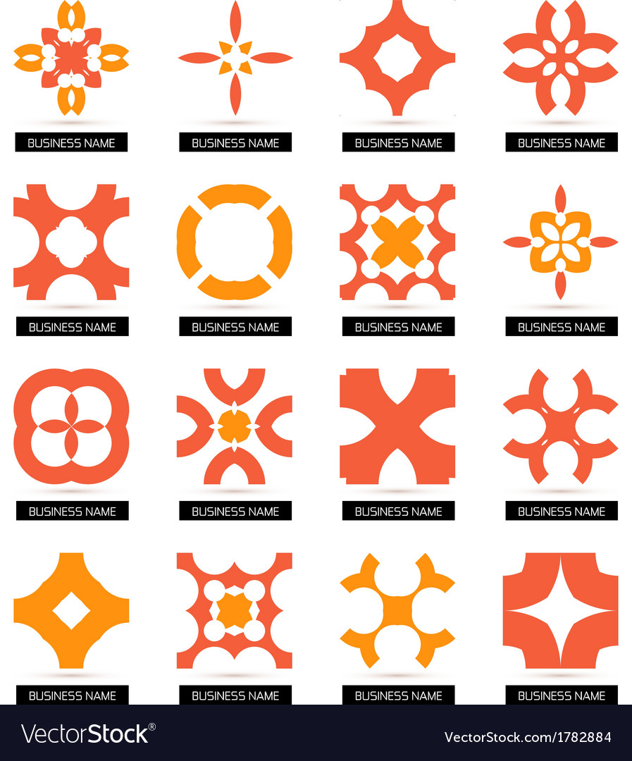 Flat geometric business symbols icon set vector | Price: 1 Credit (USD $1)