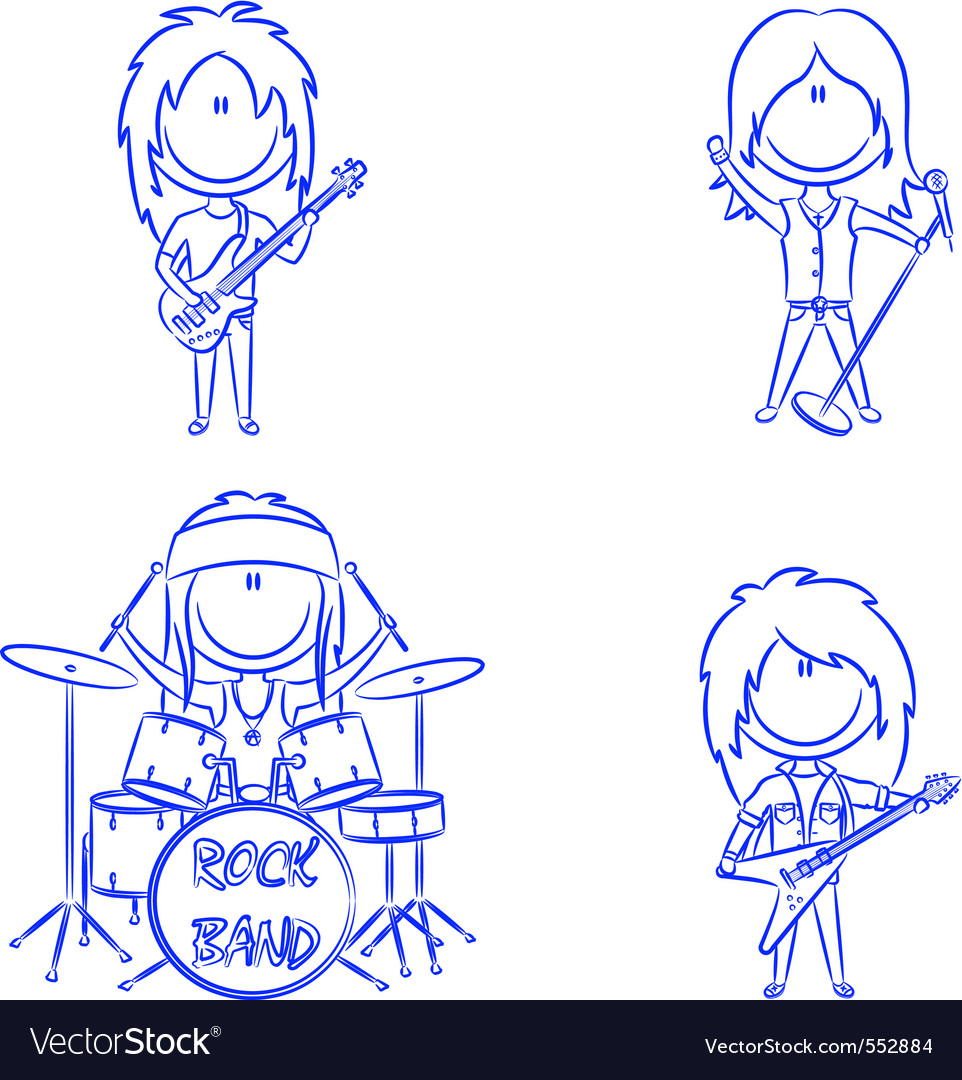 Funky kids rock band vector | Price: 1 Credit (USD $1)