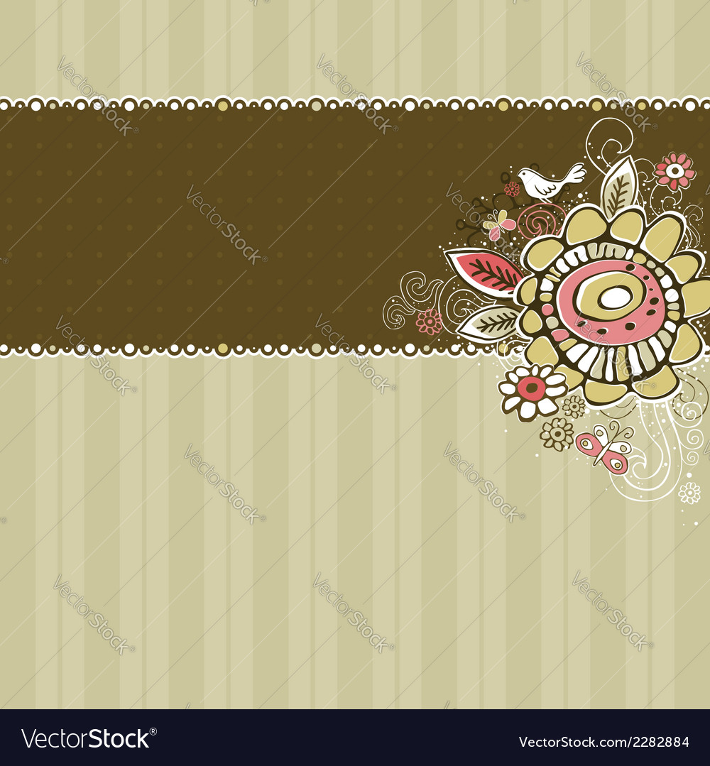 Hand draw flowers on beige striped background vector | Price: 1 Credit (USD $1)