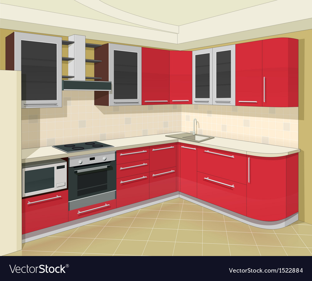 Kitchen interior with vector | Price: 1 Credit (USD $1)