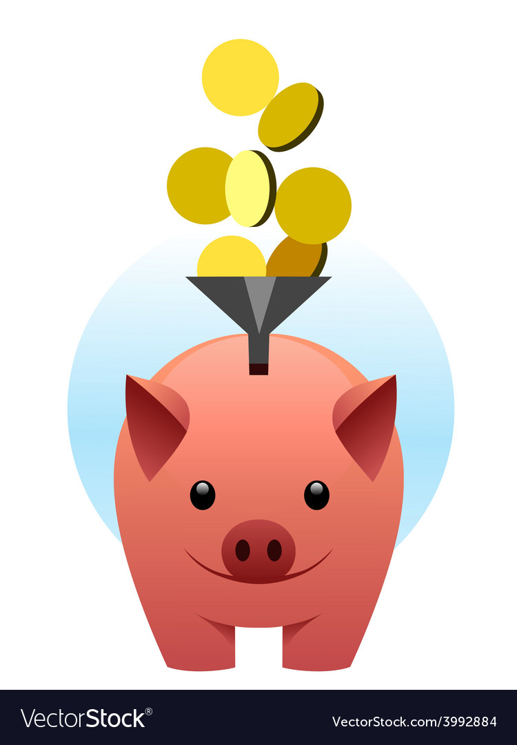 Piggy bank catches coins vector | Price: 1 Credit (USD $1)
