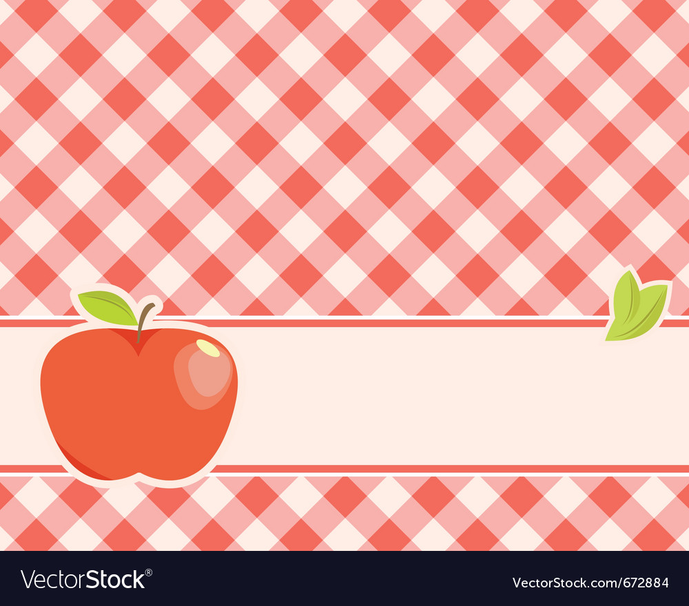 Ripe red apple on a plaid background vector | Price: 1 Credit (USD $1)