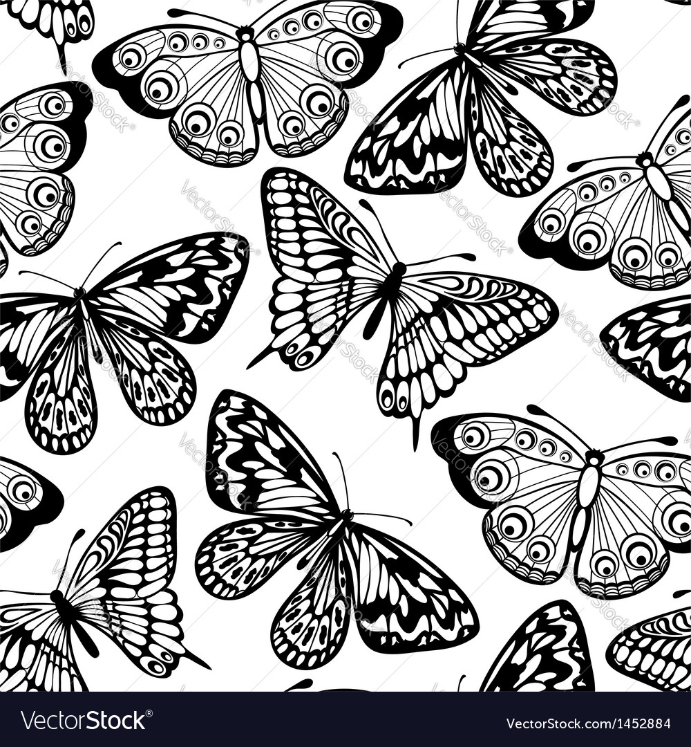 Seamless background of butterflies black and white vector | Price: 1 Credit (USD $1)