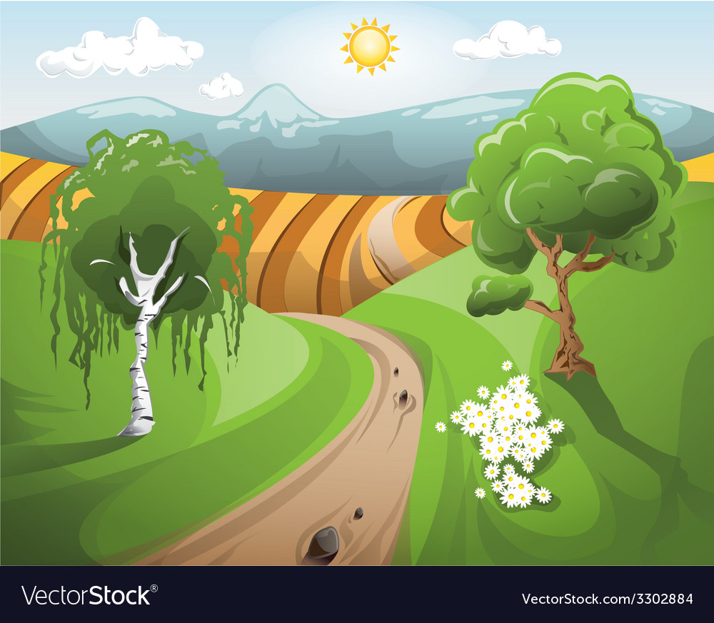Sunset landscape with trees at the front vector | Price: 3 Credit (USD $3)
