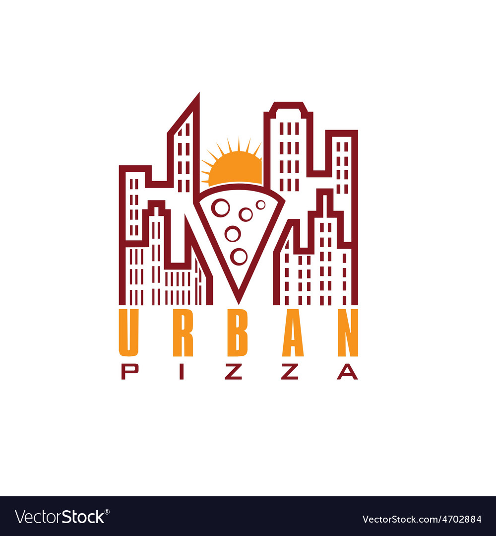 Urban pizza with sun design template vector | Price: 1 Credit (USD $1)