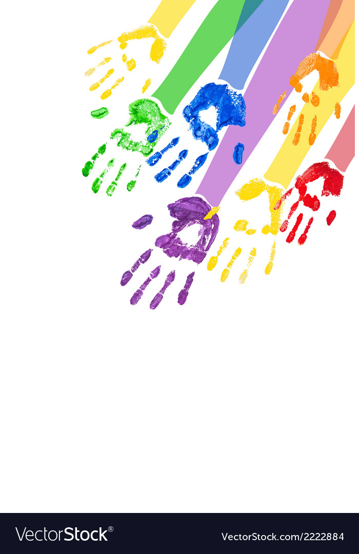 Vertical background with multicolored paint hands vector | Price: 1 Credit (USD $1)
