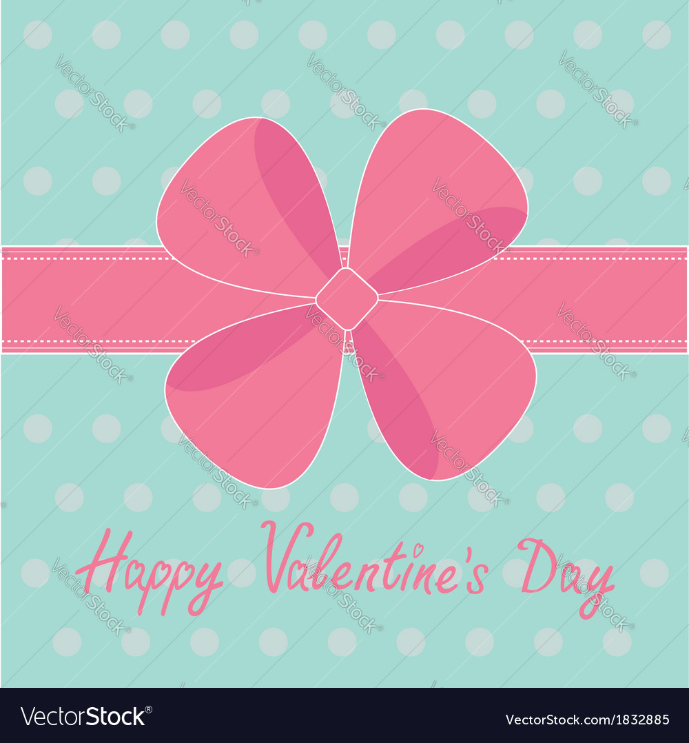 Big pink gift bow and ribbon happy valentines day vector | Price: 1 Credit (USD $1)