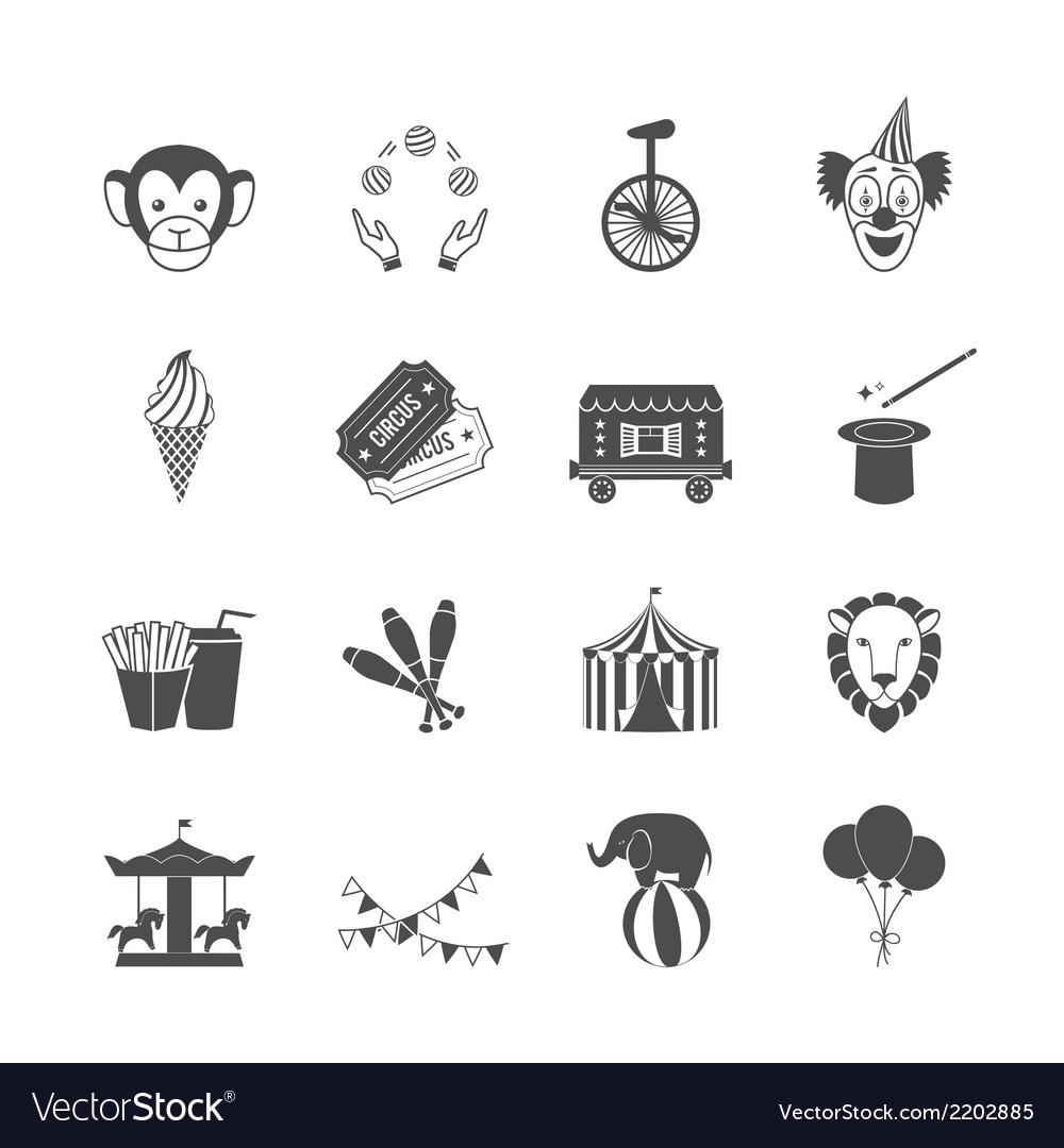 Circus icons set vector | Price: 1 Credit (USD $1)