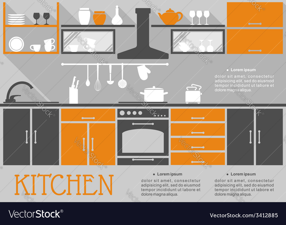 Flat kitchen interior design vector | Price: 1 Credit (USD $1)