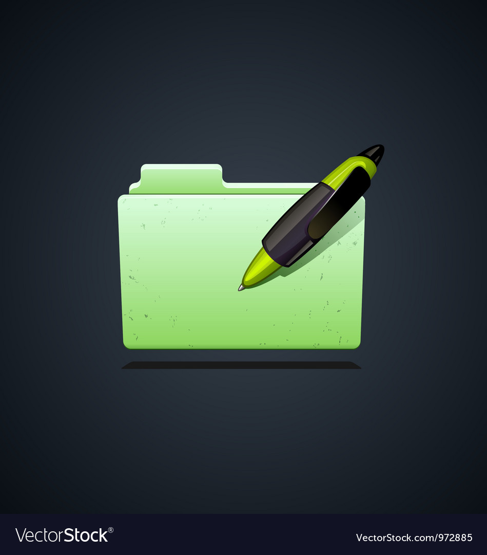 Folder icon with green pen vector | Price: 3 Credit (USD $3)