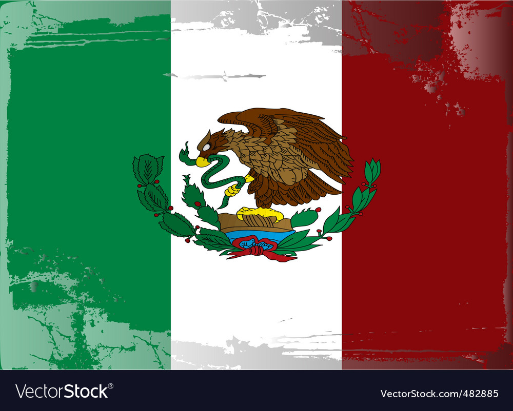 Mexico national flag vector | Price: 1 Credit (USD $1)