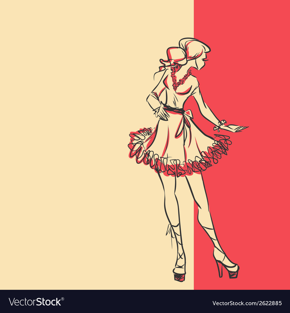 Sketch of stylish woman in dress in full length vector | Price: 1 Credit (USD $1)