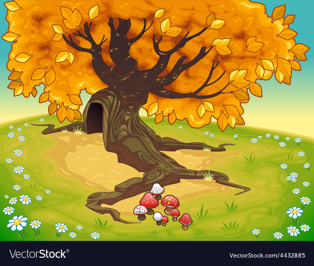 Tree in autumnal landscape vector   Price: 5 Credit (USD $5)