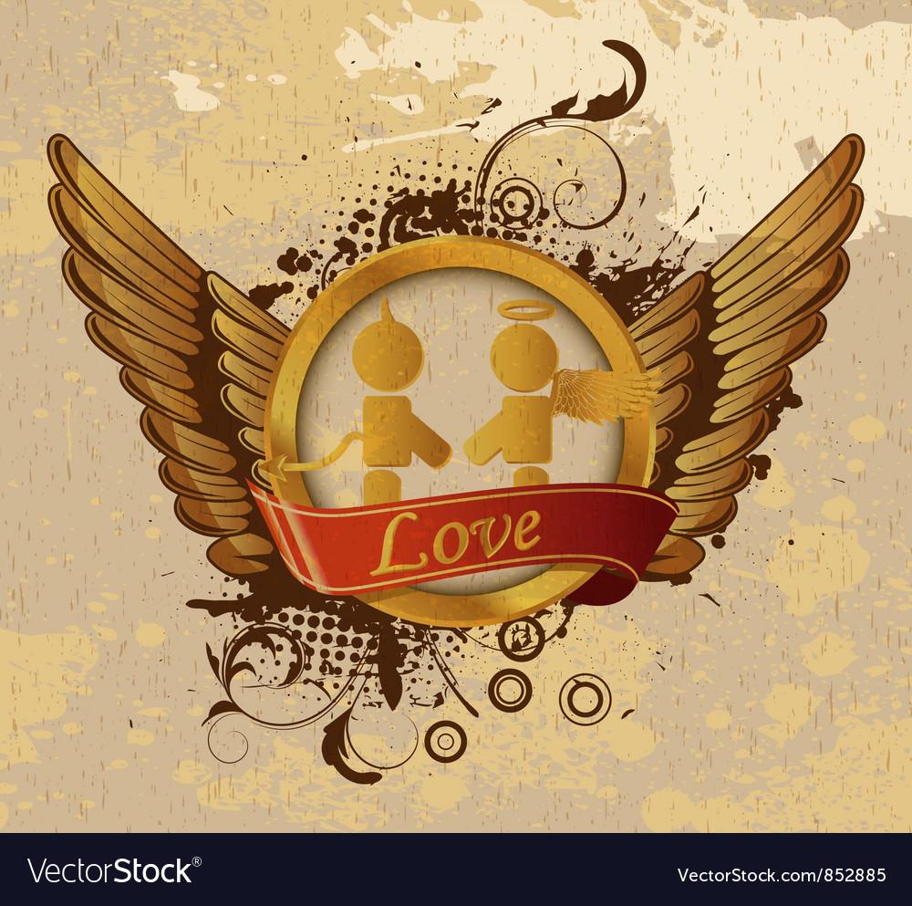 Vintage gold valentines emblem vector | Price: 1 Credit (USD $1)