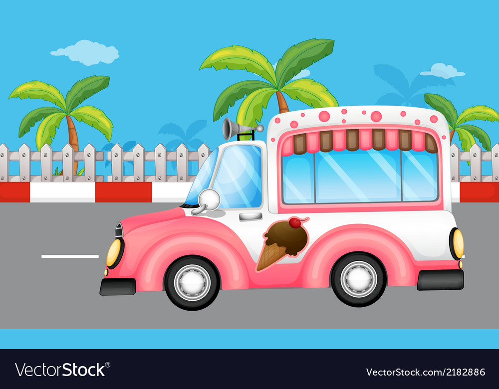 A pink ice cream bus vector | Price: 1 Credit (USD $1)