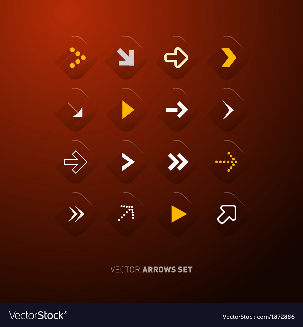 Arrows set isolated on dark red background vector | Price: 1 Credit (USD $1)