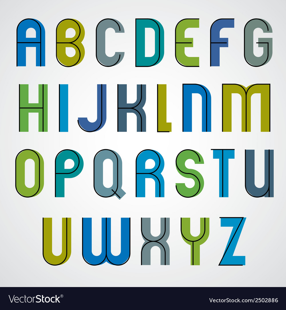 Colorful binary cartoon font rounded upper case vector | Price: 1 Credit (USD $1)