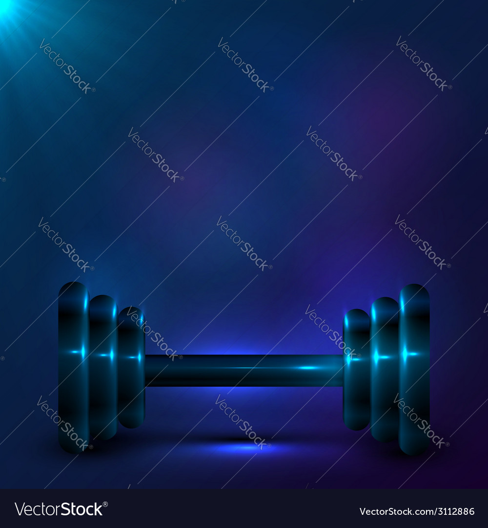 Dumbbell on night dark blue background vector | Price: 1 Credit (USD $1)