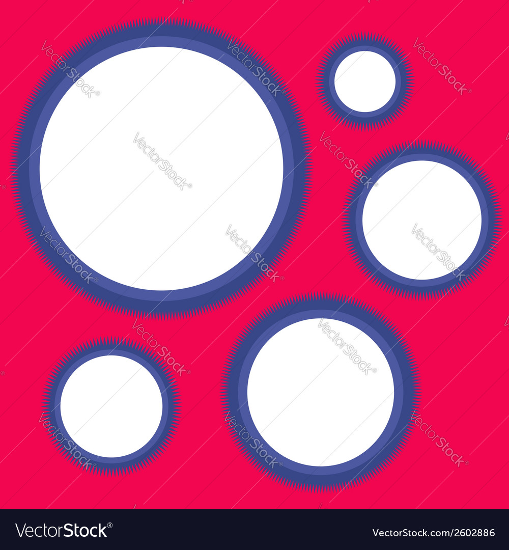 Five blue spiny circle frames vector