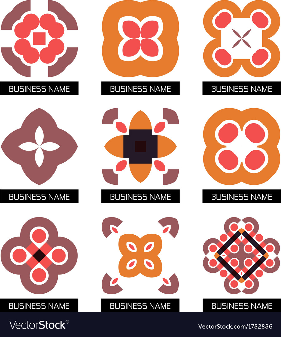 Flat geometric business symbols icon set vector | Price: 1 Credit (USD $1)