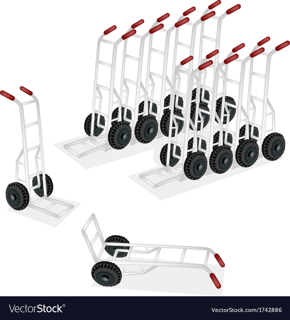Group of hand truck or dolly on white background vector | Price: 1 Credit (USD $1)