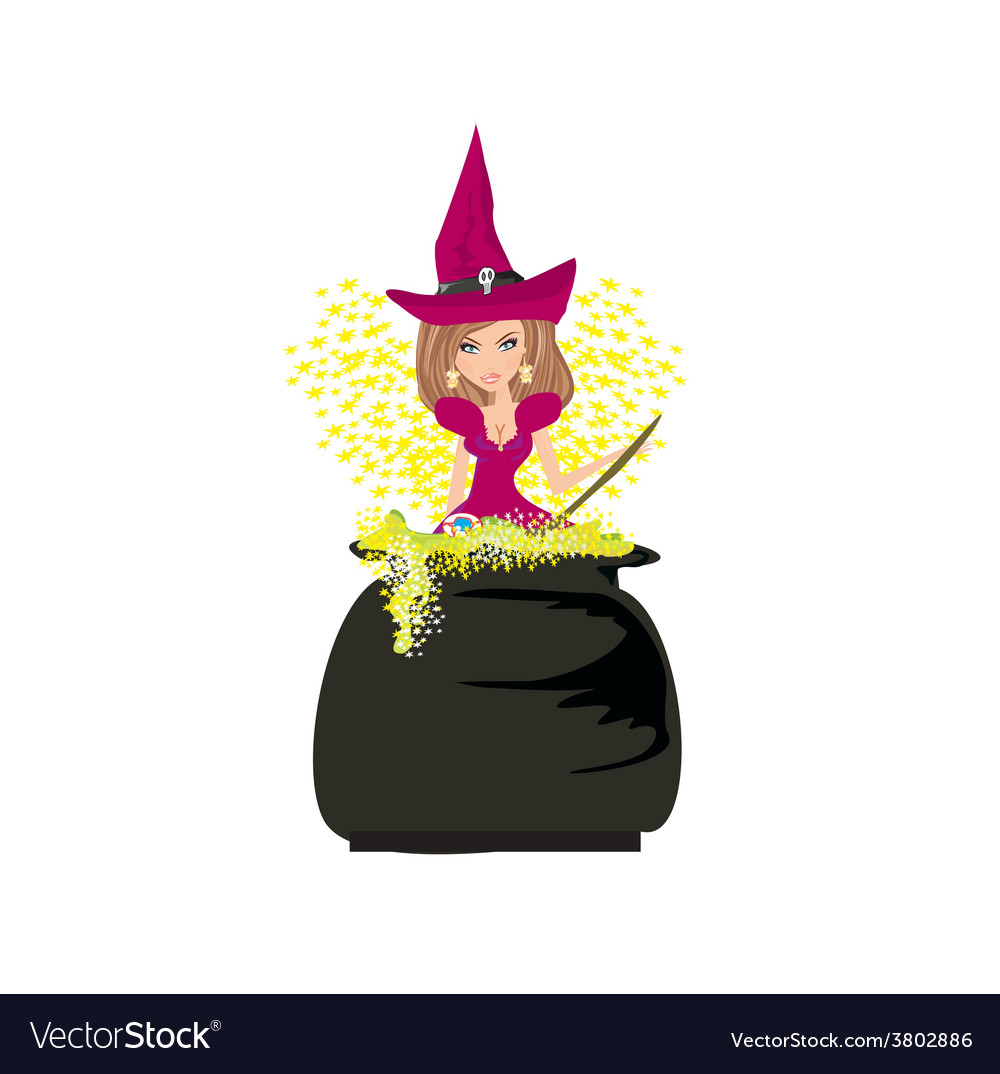 Halloween witch preparing potion vector | Price: 1 Credit (USD $1)